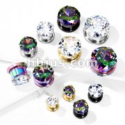 Zircon Prong Set 316L Surgical Steel Screw Fit Flesh Tunnels