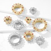 Tribal Lotus Flower with Zircon set Petals 316L Surgical Steel Screw Fit Flesh Tunnel Plugs