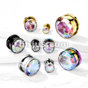 AB Zircon Bezel Set 316L Surgical Steel Screw Fit Flesh Tunnels