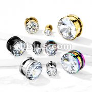 ZirconBezel Set 316L Surgical Steel Screw Fit Flesh Tunnels