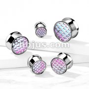 Pink & Green Hologram Fish Scale Front 316L Surgical Steel Double Flare Tunnels