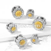 Daisy Top 316L Surgical Steel Screw Fit Flesh Tunnel Plugs