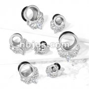 Marquise Crystal Vintage Filigree Drop Single Flare Tunnel with O-Ring