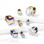 Square Zircon Prong Set Front 316L Surgical Steel Screw Fit Flesh Tunnels