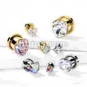 Heart Zircon Prong Set Front 316L Surgical Steel Screw Fit Flesh Tunnels