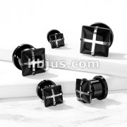 Black Square Cross Puzzle Zircon Front PVD Black over 316L Surgical Steel Screw Fit Flesh Tunnels