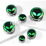 Alien Hologram 316L Surgical Steel Screw Fit Flesh Tunnel Plugs