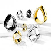 CZ Paved Edge Tear Drop Shape Double Flare Tunnels All Brass