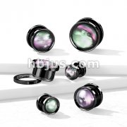 Multi Color Shell Black PVD 316L Surgical Steel Screw Fit Flesh Tunnel Plugs