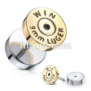 Bullet Gold IP 16 Gauge 316L Surgical Steel Fake Plugs