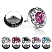 Round Center Gem Surrounded by Clear Paved Gems Fake Plug 316L Surgical Steel