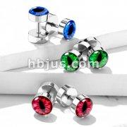 Snake Eye Inlaid 316L Surgical Steel 16ga Faux Plugs