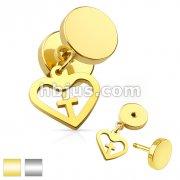 Cross Centered Heart Dangle 16G Fake Plug 316L Surgical Steel