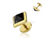 Onyx Pyramid Square CZ Fake Plug 316L Surgical Steel Gold IP