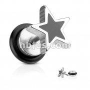 Casted Black Star Top Fake Plug 316L Surgical Steel