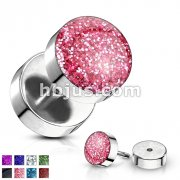 Epoxy Covered Glitter Inlaid Face 316L Surgical Steel Fake Plugs