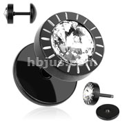 Single CZ Black IP Over 316L Surgical Steel Fake Plug