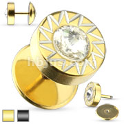 Diamond Cut with Single CZ 316L Surgical Steel Fake Plug