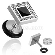 Black Square Inlay 16g Fake Plug 316L Surgical Steel