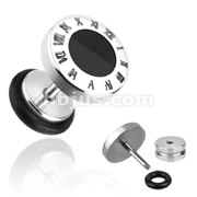 Black Round Inlay16g Fake Plug 316L Surgical Steel