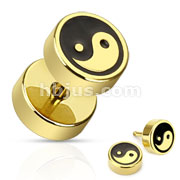 Ying Yang with Black Inlay Fake Plug Gold IP Over 316L Surgical Steel