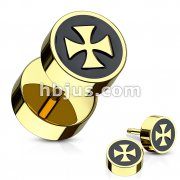 Iron Cross with Black Inlay Fake Plug Gold IP Over 316L Surgical Steel