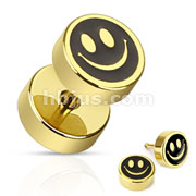 Smiley Face with Black Inlay Fake Plug Gold IP Over 316L Surgical Steel