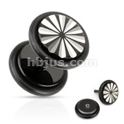 Flower Grooved Cut Fake Plug with O-Rings 316L Surgical Steel Black IP