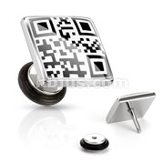 Square with QR Code Message Fake Plug 316L Surgical Steel