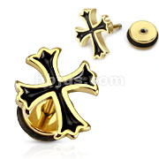 316L Surgical Steel Gold IP Cross with Black Epoxy Fill Fake Plug