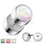 Opal Glitter Fake Plug 316L Surgical Steel