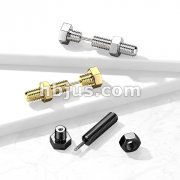 Nut and Bolt / Hexagon Screw Head 316L Surgical Steel Fake Plug