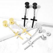 Cross on Chain Dangle 16 Gauge 316L Surgical Steel Fake Plugs