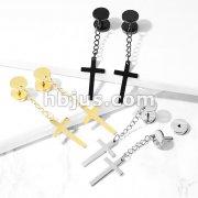 Cross on Chain Dangle 16 Gauge 316L Surgical Steel Fake Plugs