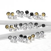 CZ Prong Set 16g 316L Surgical Steel Fake Plugs