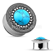 Turquoise Centered Tribal Shield Top 316L Surgical Steel Double Flared Tunnels