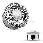 Opal Glitter Centered Anti Silver Plated Tribal Shield Top 316L Surgical Steel Double Flared Tunnels