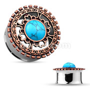 Turquoise Centered Antique Bronze Plated Tribal Shield Top 316L Surgical Steel Double Flared Tunnels