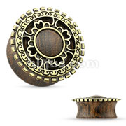Antique Gold Plated Tribal Shield Top Organic Wood Saddle Plugs