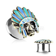 Tribal Chief Top 316L Surgical Steel Double Flared Tunnels