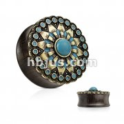 Turquoise and Enamel Tribal Sun Top Organic Ebony Wood Double Flare Saddle Plugs