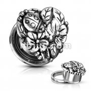 Heart with Flowers and Ladybug Top 316L Surgical Steel Screw Fit Flesh Tunnels