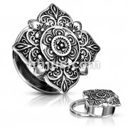 Floral Filigree Square Top 316L Surgical Steel Screw Fit Flesh Tunnels