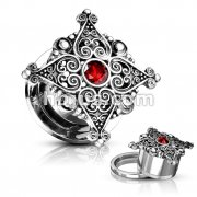 Heart Filigree Square with Red Gem Center Top 316L Surgical Steel Screw Fit Flesh Tunnels