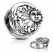 Moon, star and Sun Antique Silver Plated Top 316L Surgical Steel Screw Fit Flesh Tunnels