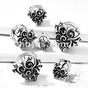 Antique Silver Plated Devi Heart Front 316L Surgical Steel Screw Fit Flesh Tunnel Plugs