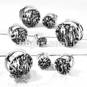 Antique Silver Plated Sire Front 316L Surgical Steel Screw Fit Flesh Tunnel Plugs