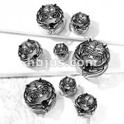 Antique Silver Plated Black CZ Set Wolf with Angel Wing Front 316L Surgical Steel Screw Fit Flesh Tunnel Plugs
