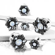 Opalite Stone Set Flower Front 316L Surgical Steel Double Flared Tunnels