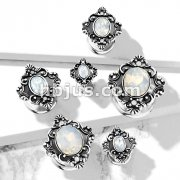White Oval Opalite Stone Set Filigree Squar Front 316L Surgical Steel Double Flared Tunnels